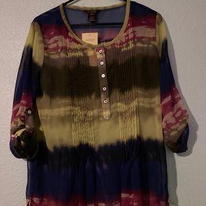NWT Multiples - Missy Vista Verde blouse